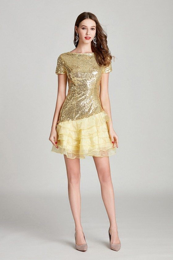 Modest Short Sequined Organza Gold Prom Dress Sparkly For Woman