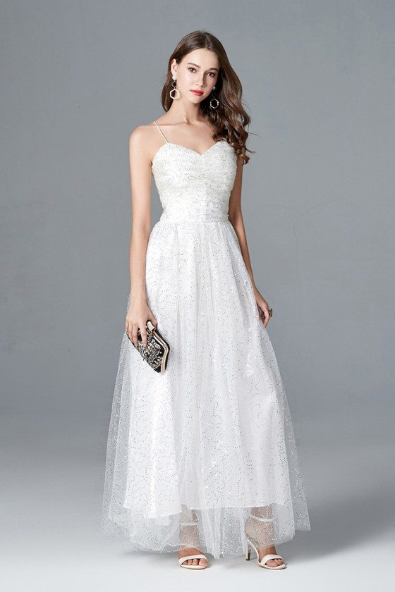 Long White Sequin Tulle Formal Party Dress With Spaghetti Straps