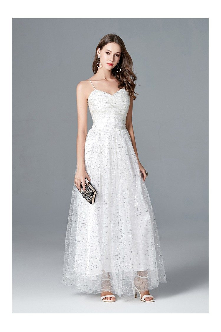 Long White Sequin Tulle Formal Party Dress With Spaghetti Straps ...