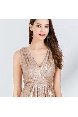 Champagne Beaded Scoop Long Dresses for Wedding shd070