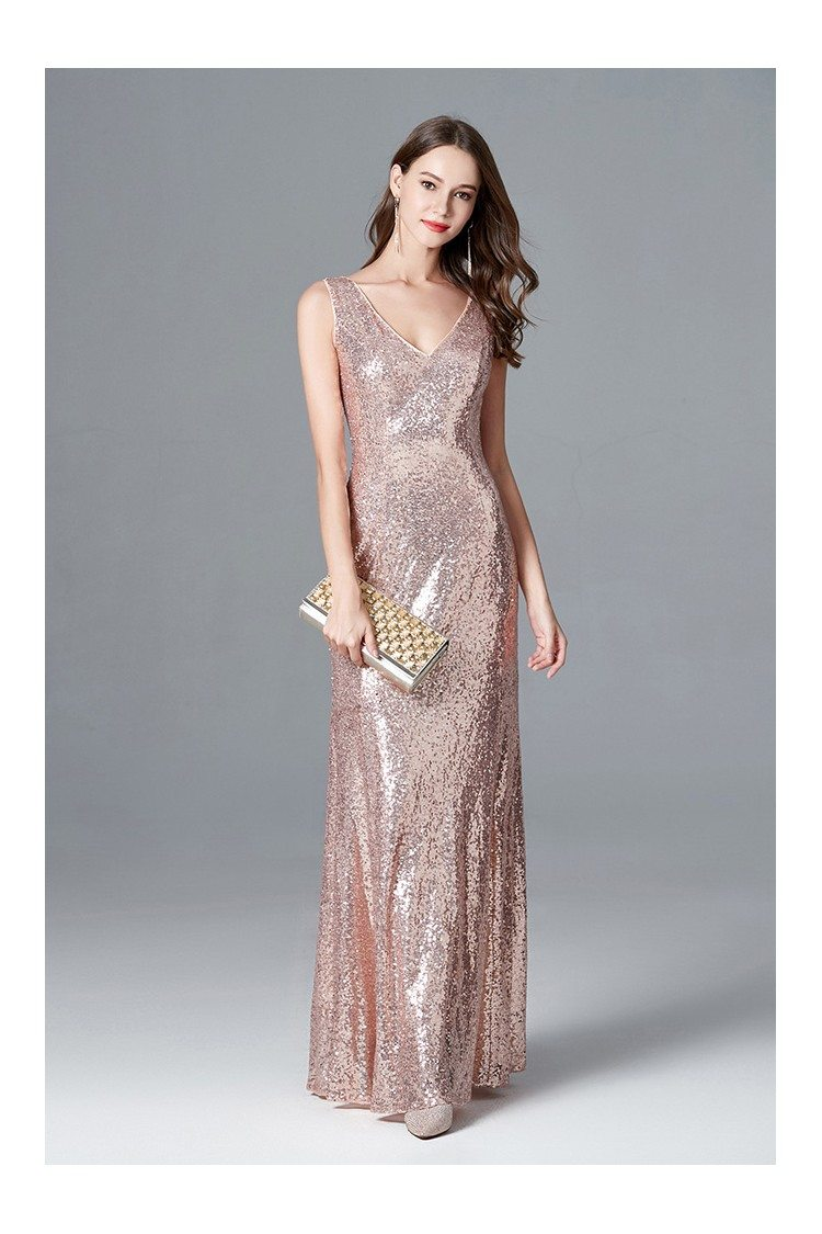 Sparkly Rose Gold Sequin Mermaid Evening Dress Long Sweetheart For ...