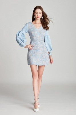 Blue Lace Cotton Short Prom...