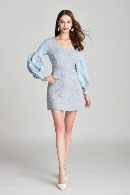 Blue Lace Cotton Short Prom...