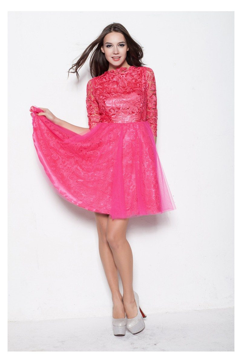 Hot Pink High-end Lace Half Sleeve Tulle Prom Dress - $92 #DK222 ...