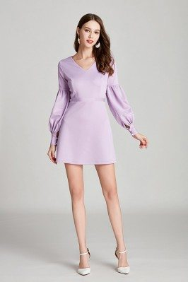 Simple V Neck Short Lilac...