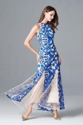 Blue Mermaid Train Long Formal Dresses with Sleeves shd253