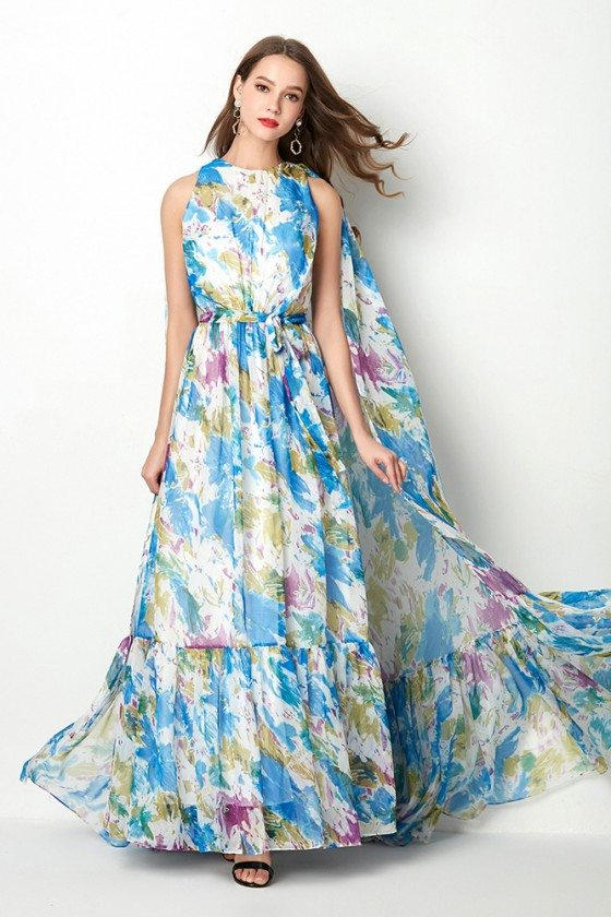 Beautiful Floral Print Blue Formal Prom Dress With Long Cape