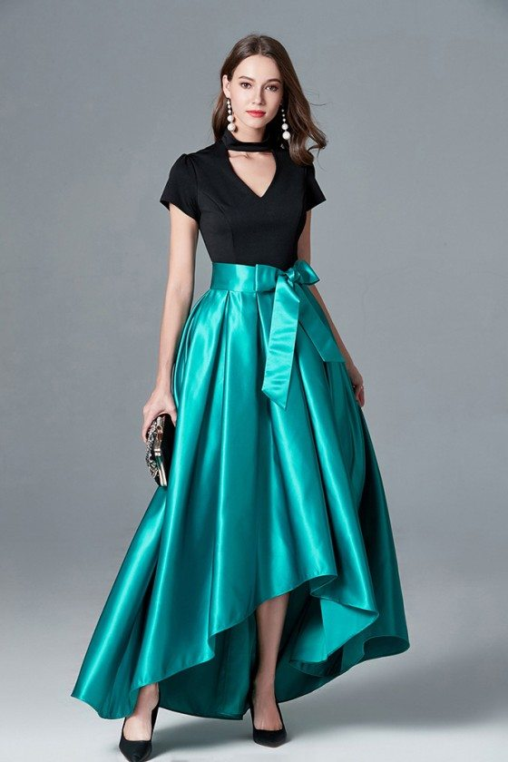 Black And Green High Low Satin Evening Dress With Cap Sleeves
