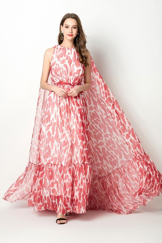 Unique Chiffon Printed Red Long Prom Dress With Puffy Cape Train