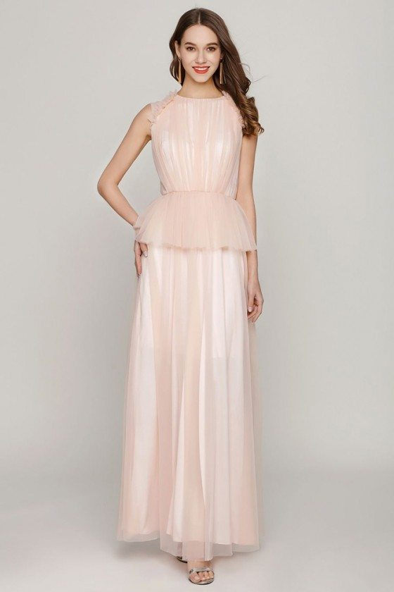 Peach Long Tulle Ruched Party Dress Sleeveless For Juniors