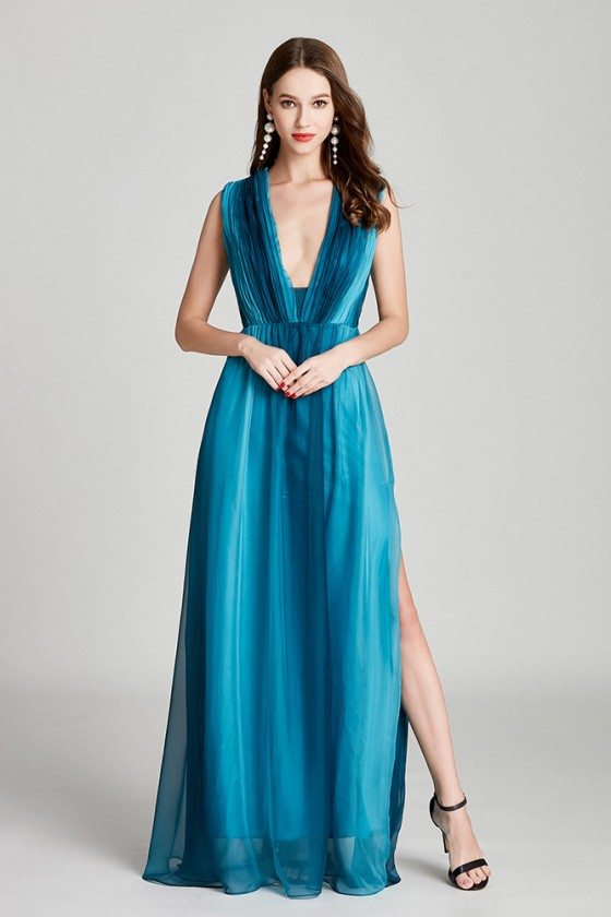 Ombre Blue Chiffon Long Slit Pleated Prom Dress With V Neck
