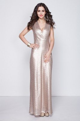 Sequin V-neck Long Party Dress