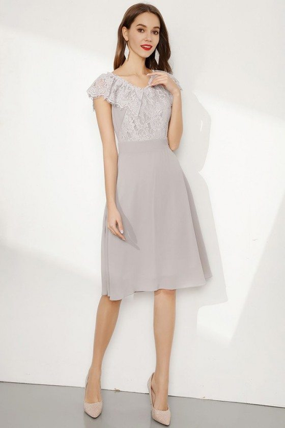 Knee Length Grey Cap Sleeve Prom Dress With Falbala Lace Neck