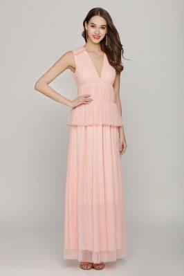 Long Pink Sleeveless Formal...