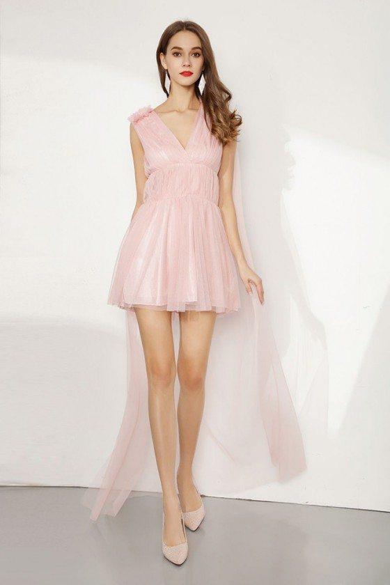 Hi Low Short Pink Tulle Party Dress V Neck For Juniors