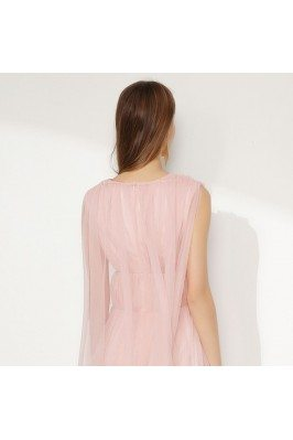 Pink Printed Flowers One Strap Long Party Dresses shd196
