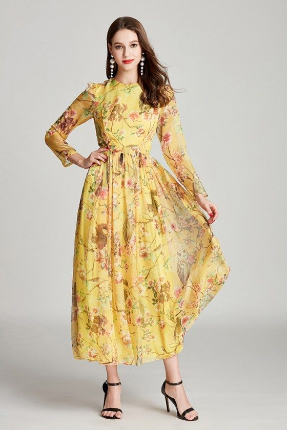 Modest Chiffon Floral Print Yellow Midi Formal Dress With Long Sleeves
