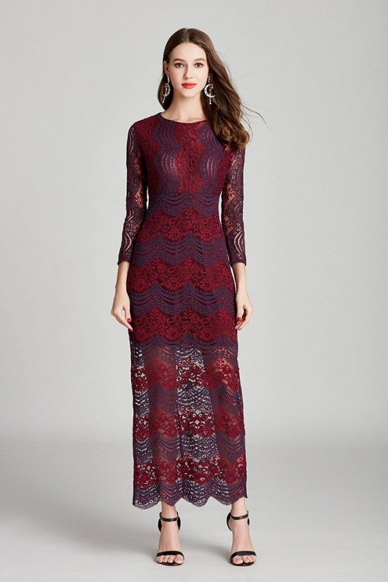 Unqiue All Lace Madi Burgundy Formal Dress With 3/4 Sleeves