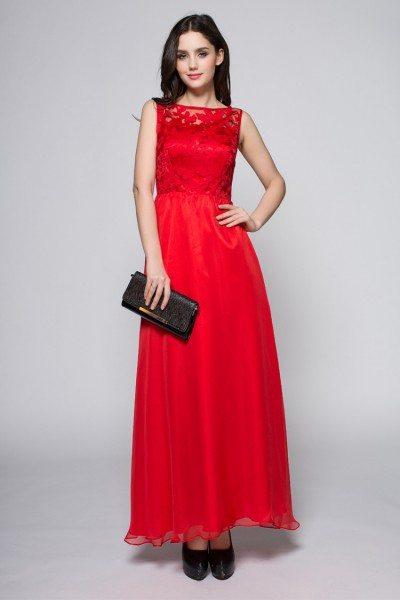 Lace Empire Waist Chiffon Long Party Dress