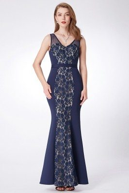 Navy Blue Long Lace Marmaid...