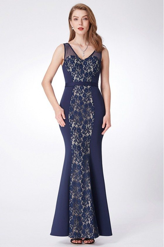 Navy Blue Long Lace Marmaid Evening Dress Fitted Sweetheart