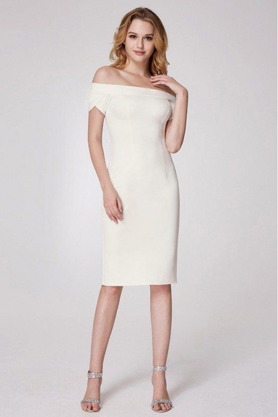 Trendy Flat Shoulder Formal Dress With Short Sleeves