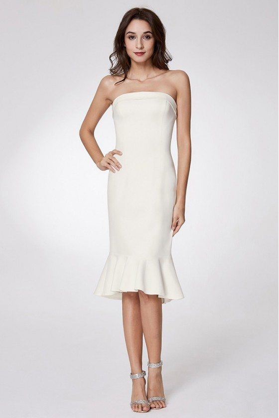 Simple Bodycon Madi Prom Dress Strapless With Falbala