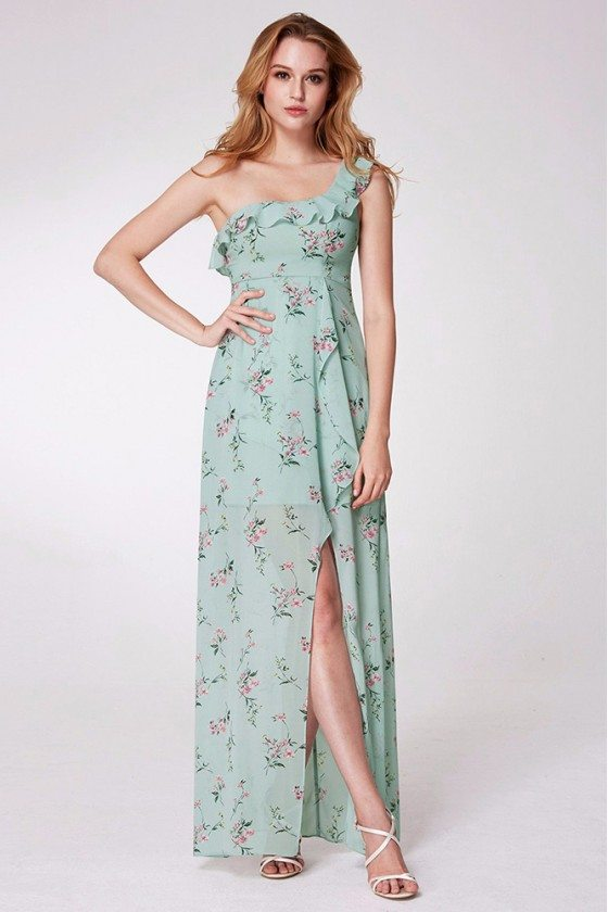 Mint Green Printed One Shoulder Prom Dress With Long Slit