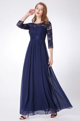 Empire Waist Navy Blue Lace...
