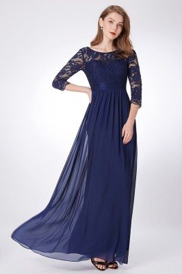 Formal Black Beaded Lace Evening Dresses with Sleeves shd165