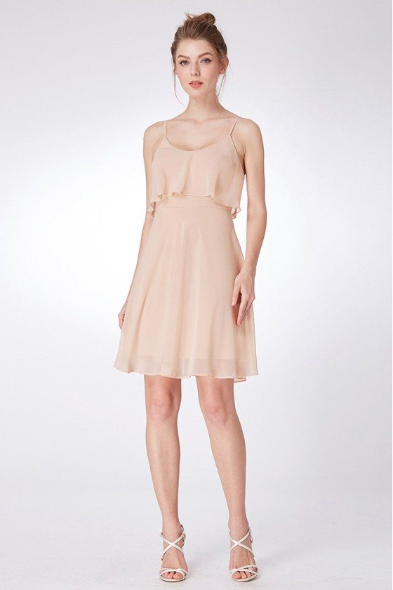 Champagne Simple Chiffon Bridesmaid Dress In Short Length