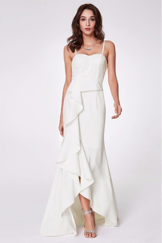 Hi Low White Ruched Slit Formal Dress Long For Woman