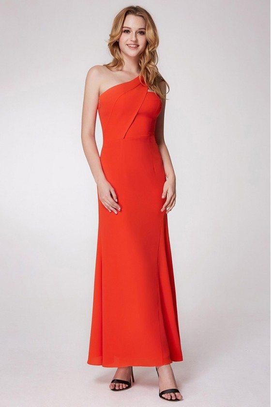 Orange Simple Chiffon Formal Dress With One Shoulder Strap