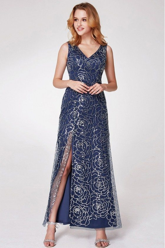 Navy Blue Long Slit Sequined Party Dress With Sweetheart