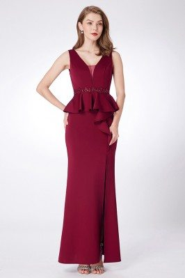 Burgundy Long Slit Beaded...