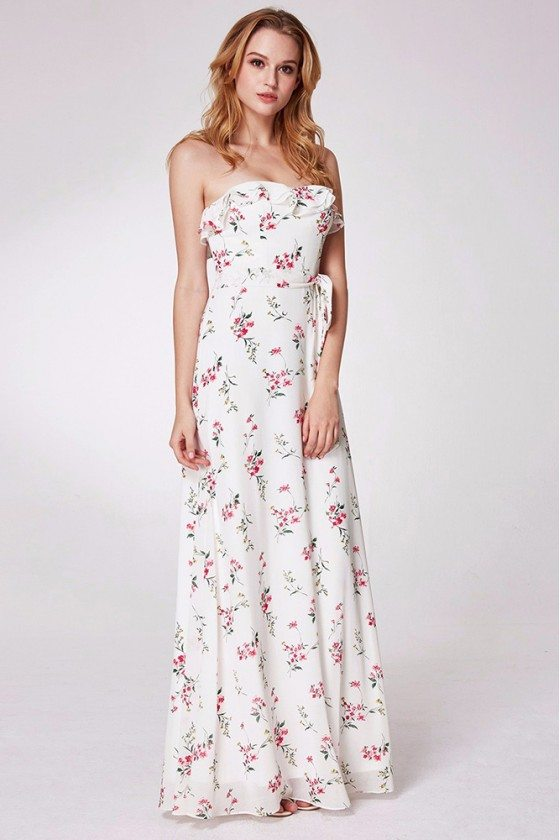 White And Pink Flora Print Formal Prom Dress Strapless