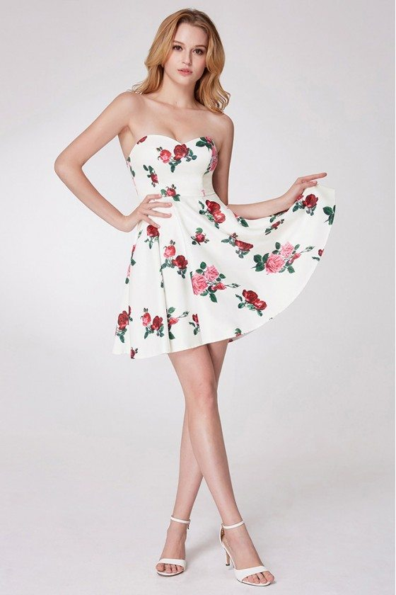 Simple Rose Printed Cocktail Little Prom Dress