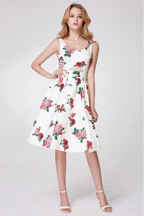 Elegant Floral Print Sweetheart Short Prom Dress