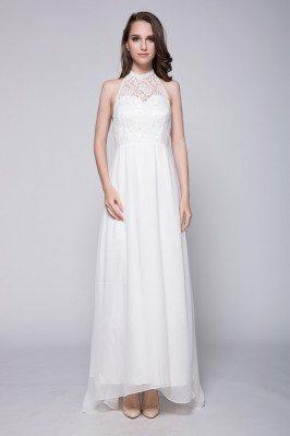 White Lace Long Halter Chiffon Dress