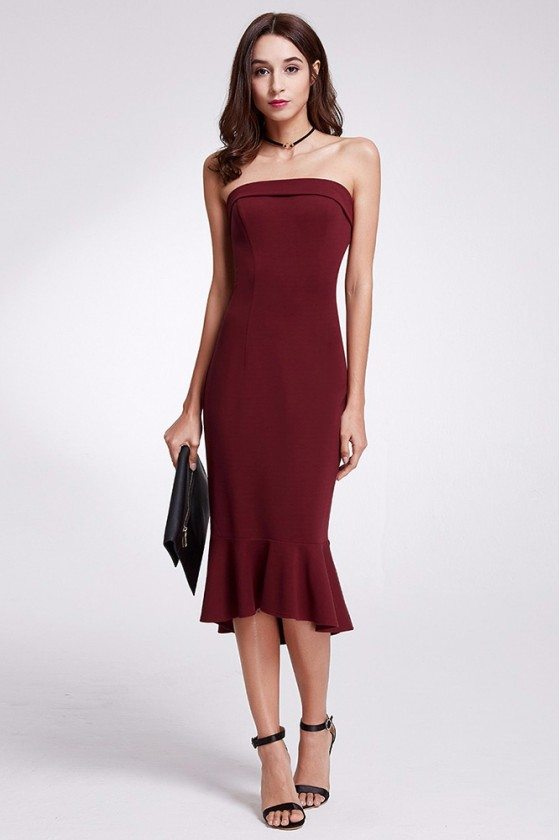 Burgundy Bodycon Strapless Fitted Casual Dress In Tea Length