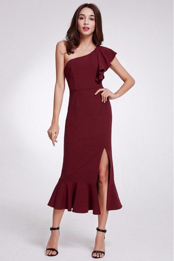 One Shoulder Burgundy Formal Dress With Split Front