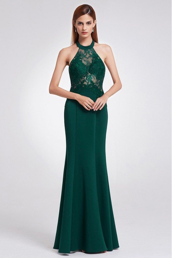 Unique Halter Lace Dark Green Fitted Evening Dress