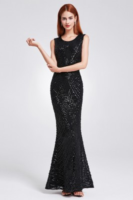 Black Beaded Chiffon Formal Dresses Long Sleeves for Wedding Guests shd278