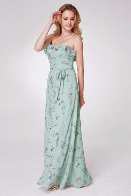 Modest Flower Beading Top Yellow Chiffon Party Dresses in Long shd271