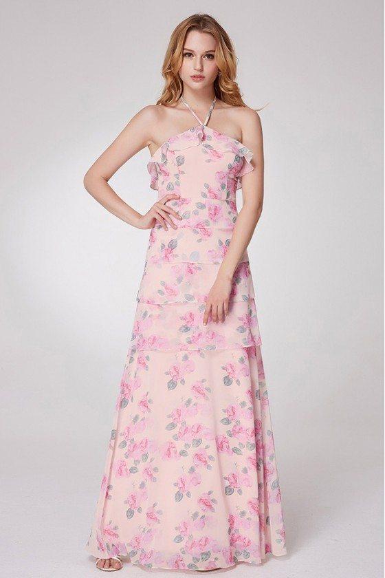 Layered Rose Pink Printed Bridesmaid Dress With Halter Strap