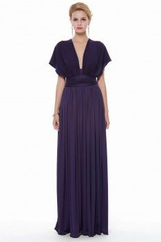 Purple Multi Style Long Chiffon Formal Dress