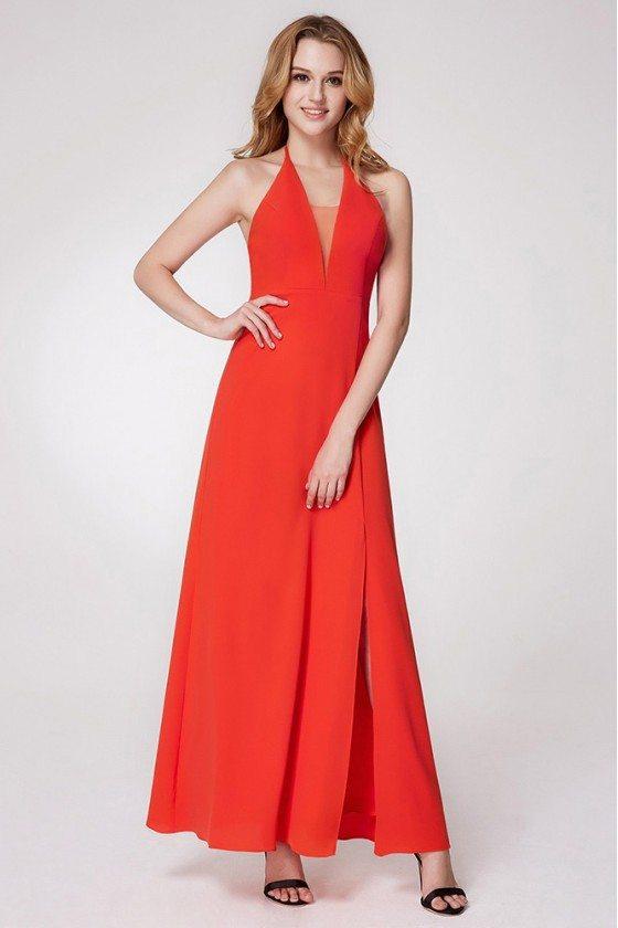 Orange Long Halter Slit Bridesmaid Dress Chiffon For Wedding