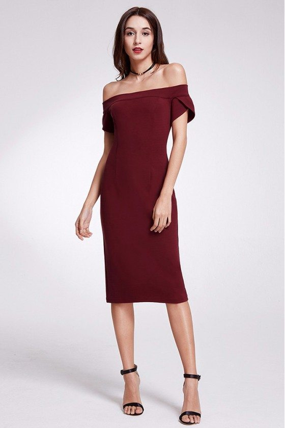 Burgundy Off Shoulder Tight Formal Dress Short Sleeves