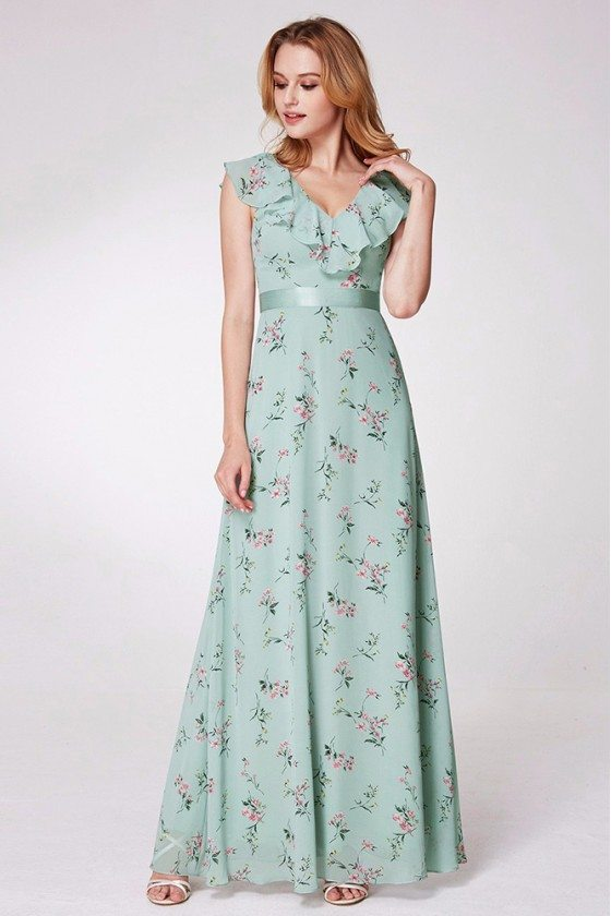Mint Green Printed Chiffon Formal Dress With Falbala Neck