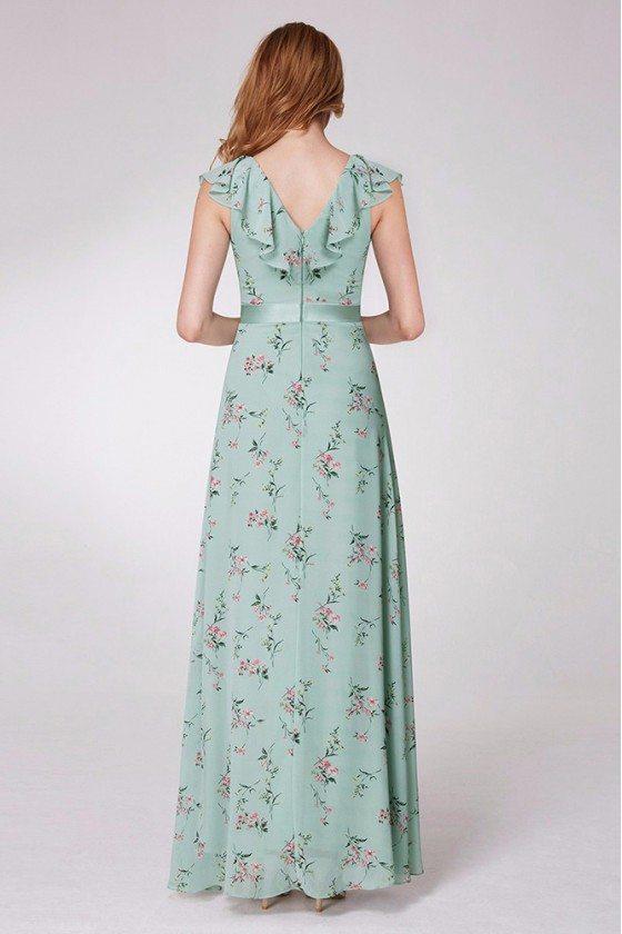 Mint Green Printed Chiffon Formal Dress With Falbala Neck 57